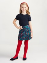 Oscar de la Renta Floral Vine Velvet A-Line Skirt With Ric Rac