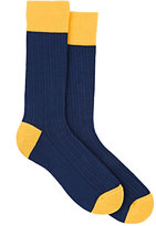Barneys New York MEN'S COLORBLOCKED MID-CALF SOCKS-NAVY
