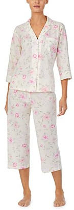 Lauren Ralph Lauren Petite Cotton Rayon Lawn Woven 3/4 Sleeve Pointed Notch Collar Capri Pajama Set (Multi Floral) Women's Pajama Sets