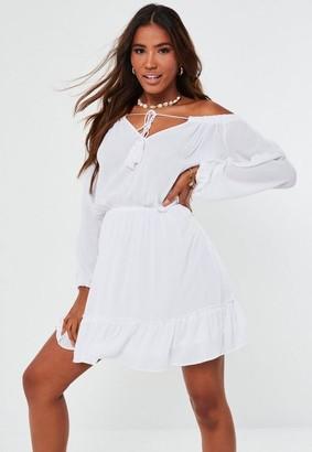 Missguided Tall White Bardot Tassel Mini Dress
