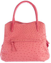 Nancy Gonzalez Ostrich & Crocodile Medium Trap Bag