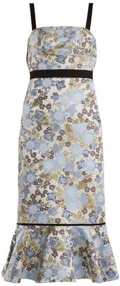 Erdem Eunice Floral-jacquard Dress - White Multi