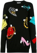Moschino paper cut out accessories sweater dress - women - Cotton - XS