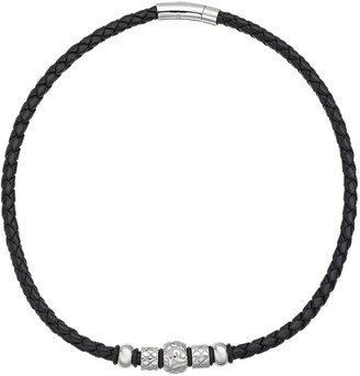 Stainless Steel & Leather Bead Necklace - Men