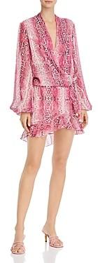 Rococo Sand Metallic Print Wrap Mini Dress