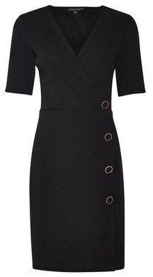 Dorothy Perkins Womens Black Button Detail Bodycon Dress, Black