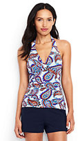 Lands' End Women's D-Cup V-neck Halter Tankini Top-White/Deep Sea Pretty Paisley