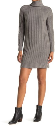 RD Style Ribbed Knit Turtleneck Sweater Dress