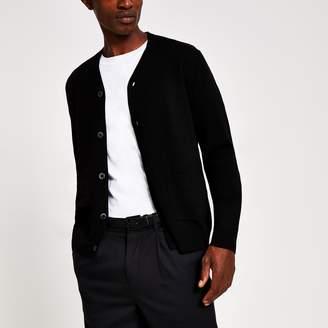 River Island Mens Black fine knit button front cardigan
