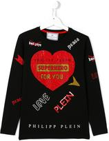 Philipp Plein embellished heart print T-shirt