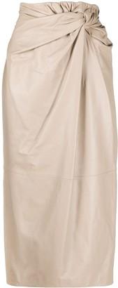 16Arlington Drape-Waist Midi Skirt