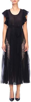 Moschino Dress Dress In Pleated Fabric And Lace
