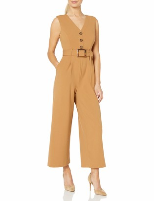 Calvin Klein Women's V-Neck Jumpsuit with Center Button Bodice and Belt
