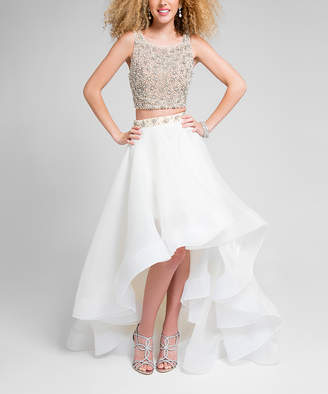 Terani Couture Women's Special Occasion Dresses IVORY - Ivory Nude Embellished Sleeveless Hi-Low Dress - Women