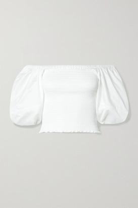 La Ligne Daisy Smocked Cotton-poplin Top - White
