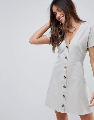 Asos Design DESIGN button through mini casual skater dress-Cream