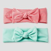 Cat & Jack Girls' 2-Pack Woven Headwrap Cat & Jack - Coral/Mint