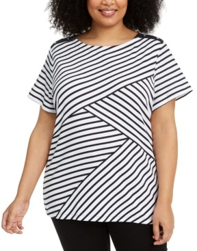 Karen Scott Plus Size Asymmetrical Striped Top, Created for Macy's