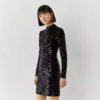 Warehouse Zebra Sequin Mini Dress