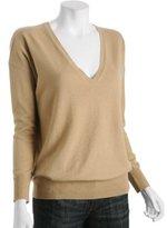 camel cashmere v-neck boyfriend sweater