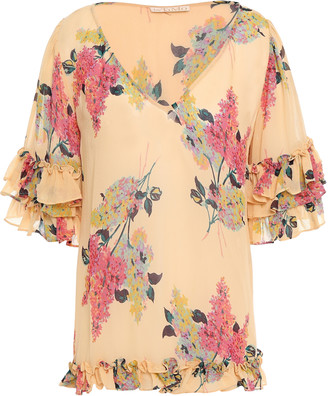 By Ti Mo Bytimo Ruffle-trimmed Floral-print Crepe Blouse