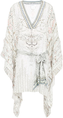 Camilla Draped Embellished Printed Silk Crepe De Chine Kaftan