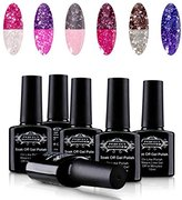 Perfect Summer UV/LED Soak Off Temperature Glitter Colors Changing Gel Nail Polish, Pack of 6, 10ml Each (set #01)