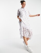Thumbnail for your product : Lost Ink midi dress with bib detail in vintage floral