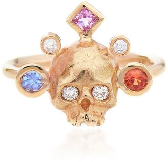 Rachel Quinn Crowned Skull 14K Yellow Gold Ring