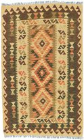 "Ecarpetgallery Hand-woven Kashkoli Kilim Geometric 3'0"" x 4'11"" Green 100% Wool area rug"