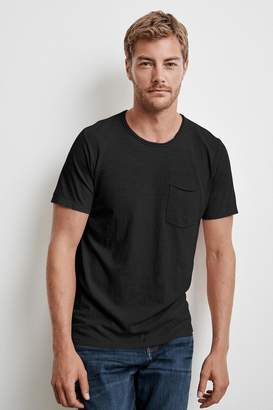 Velvet by Graham & Spencer CHAD RAW EDGE COTTON SLUB POCKET TEE