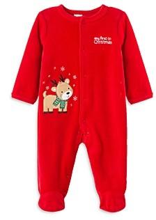 Little Me Boys' Reindeer Velour Footie - Baby