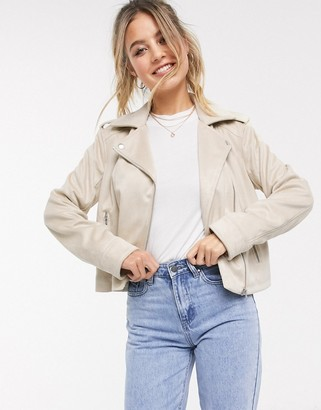 ASOS DESIGN suedette biker jacket in stone