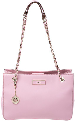 DKNY Pink Leather Bryant Zipped Chain Tote