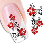 Set of 5 Water Transfer Nail Art Stickers Decal Beauty Cute Sexy Red Flowers Angel