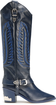 Toga Pulla Buckled Embroidered Leather Boots