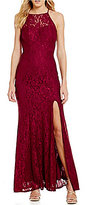 Xtraordinary High Neck Illusion Yoke Long Lace Dress