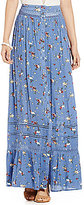 Blu Pepper Floral-Printed Button Front Pleated Maxi Skirt