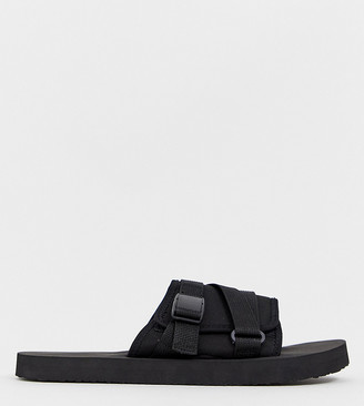 Asos Design DESIGN Wide Fit tech sliders in black with tape straps