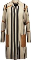 Belstaff Starboard leather-trimmed striped cotton-blend coat