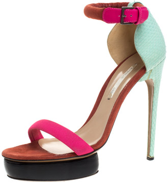 Nicholas Kirkwood Multicolor Python Leather And Canvas Platform Ankle Strap Sandals Size 38.5