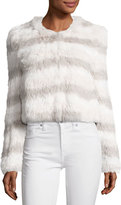 Joie Toshi Layered Cropped Fur Jacket, Foggy MT Multi