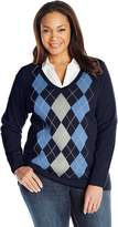Caribbean Joe Women's Plus-Size Plus Argyle Pullover V-Neck Sweater