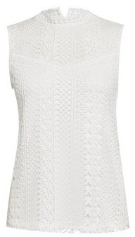 Dorothy Perkins Womens White Sleeveless Lace Blouse, White