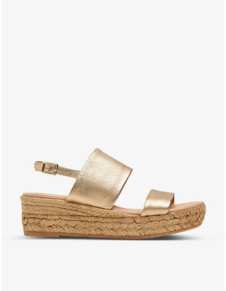 LK Bennett Cona metallic leather platform espadrilles
