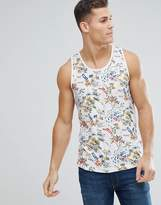 Bellfield Tank In Hawaiian Print With Curved Hem