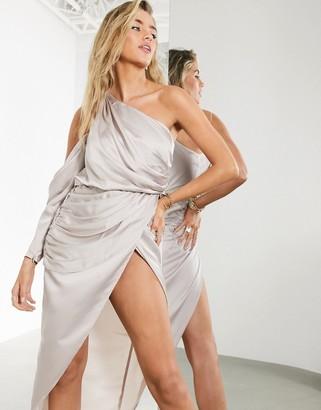 ASOS EDITION drape one shoulder midi dress