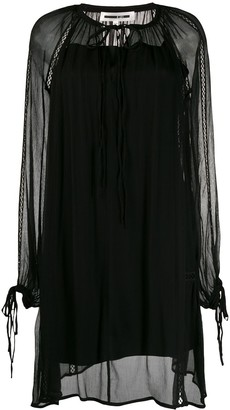 McQ Swallow Sheer Layered Long Sleeve Dress