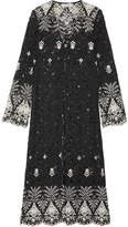 Alice + Olivia Alice Olivia - Stara Embroidered Cotton-blend Corded Lace Kaftan - Black