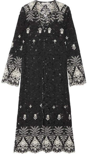 Alice + Olivia Stara Embroidered Cotton-blend Corded Lace Kaftan - Black
